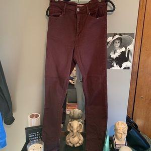Super high rise Maroon Denim Skinny Jeans